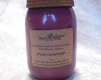 SPICED CRANBERRY 16 oz Mayo/Jelly Jar Soy with rusty primitive lid.