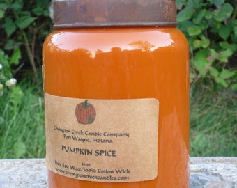 Autumn Candle Pumpkin Spice  26 oz Soy Covington Creek Candle.