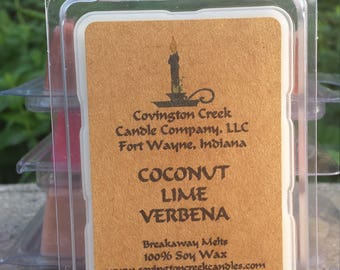 Coconut Lime Verbena 3 or 6 once Soy Breakaway Melt