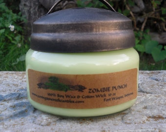 ZOMBIE PUNCH 10 oz Soy Candle. Rustic, Halloween candle, Walking Dead, All Hallows Eve, teacher gift, hostess gift, Fruit scent