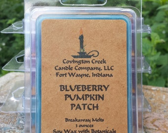 Blueberry Pumpkin Patch 3 or 6 ounce Soy Breakaway Melt. Fall scent, Autumn scent, Berry scent, Teacher gift, Stocking Stuffer, Food Scent