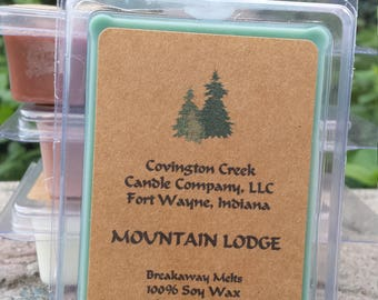Mountain Lodge 3 or 6 ounce Soy Breakaway Melt. Outdoor scent, Evergreen scent, Stocking stuffer, Teacher gift, Hostess gift, gift basket