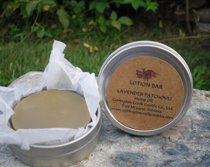 Featured listing image: LAVENDER PATCHOULI Hemp Oil Lotion Bar  Made With Organic Ingredients.