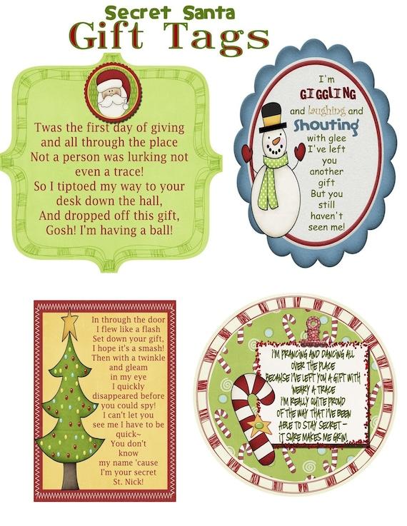 Secret Santa Gift Tag Poem PDF File | Etsy