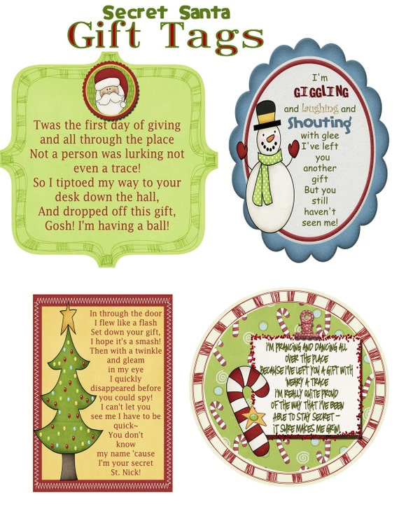 Secret Santa Gift Tag Poem JPG File Etsy