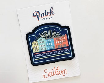 Charleston Patch, Rainbow Row, Souvenir, Iron on Patch, Travel Patches, Stocking Stuffer, Gift, Gifts, Under 10, Charleston Gifts, Cityscape