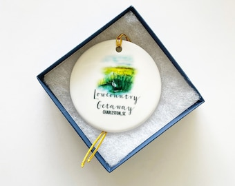 Lowcountry Marsh Ornament, Coastal Scene, Souvenir, Christmas Ornament, Charleston Gift, Personalized Gift, Holiday Gift, Under 25