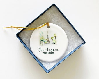 Holy City Charleston Ornament, St Philips Church Ornament, Christmas Ornament, Charleston Gift, Personalized Gift, Holiday Gift, Under 25