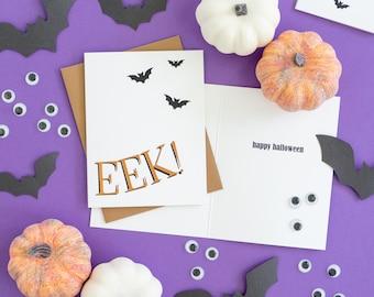Halloween Card, Bats, Foil Card, Fall Card, Eek, Creepy, Halloween Stationery, Halloween Party, Greeting Card, Just Because Card, Modern