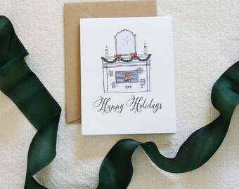 Watercolor Holiday Card, Christmas Card Set, Holiday Cards, Modern Calligraphy, Fireplace, Hearth, Cooking, Home for the Holidays