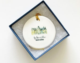 Asheville Christmas Ornament, North Carolina Ornament, Trip Souvenir, Ornaments, Charleston Gift, Personalized Gift, Holiday Gift, Under 25