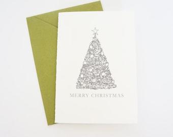 Merry Christmas Card Hand Drawn Christmas Tree Elegant Card