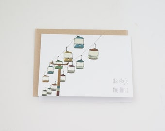 Congratulations Card, Graduation Card, Encouragement Card, Just Because Card, Congratulate Card, Card Set, Clever Card, The Sky's the Limit