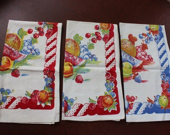 3 Tea Towels Kitchen Set Fruit Strawberry Cherry Grape Red and Blue VINTAGE by Plantdreaming