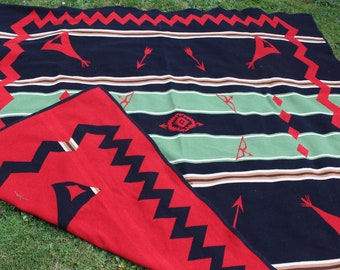 Pendleton Blanket Black and Red Native American Design Tipi Arrows Queen size Reversible VINTAGE by Plantdreaming