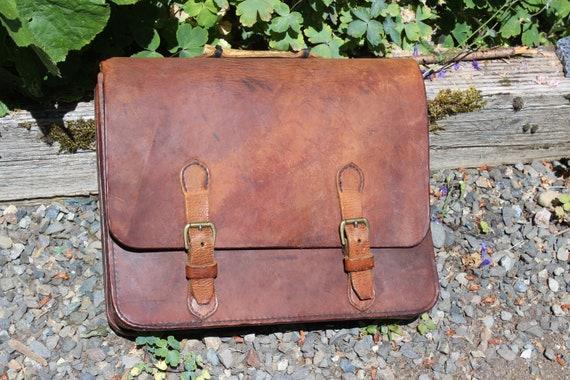 Leather Briefcase Handmade 1970s Antler Handle Sad