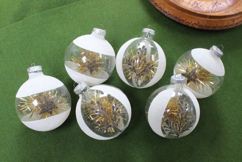 6 Clear Glass Tinsel Mica Christmas Ornaments West Germany Tree Decoration Big Hand Blown Vintage By Plantdreaming