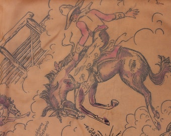 Scarf Souvenir Rodeo Western The Buckhorn San Antonio Texas Native American Made in USA  VINTAGE by Plantdreaming