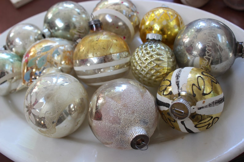 Mercury Glass Christmas Ornaments 12 Large Silver And Gold Vintage By Plantdreaming