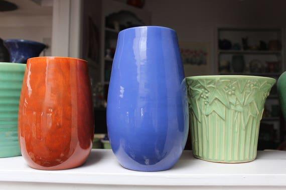 Bauer Pottery Fred Johnson Hi Fire Vase 9 Inch Cobalt Bue Etsy