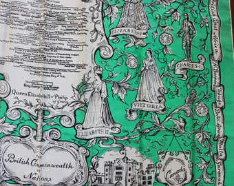 Large Silk Scarf British Royal Linage Queen Elizabeth Commonwealth of Nations Symphony Scarf 1950s Souvenir Novelty VINTAGE by Plantdreaming
