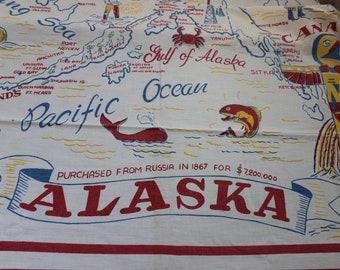 Tablecloth Alaska Map State Souvenir Novelty Large VINTAGE By Plantdreaming