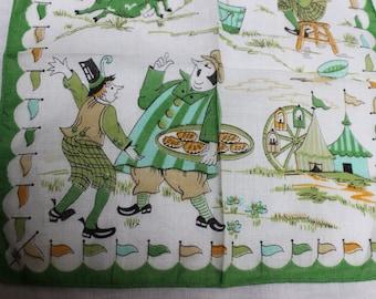 Handkerchief Cotton Simple Simon Nursery Rhyme Farris Wheel Childs Juvenile Vintage by Plantdreaming
