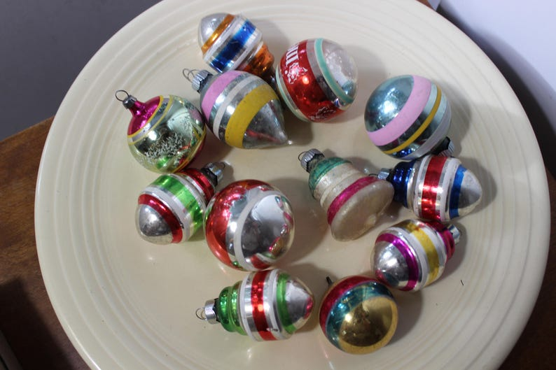12 Mercury Glass Striped Shapes Christmas Tree Ornaments VINTAGE by Plantdreaming