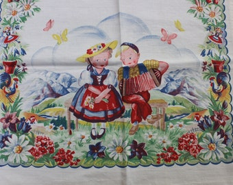 Tea Towel Kitchen German Children Garden Mountain Scene Rooster   VINTAGE by Plantdreaming