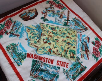 Scarf Souvenir of Washington State  Map Large Red Blue Silk Japan VINTAGE by Plantdreaming