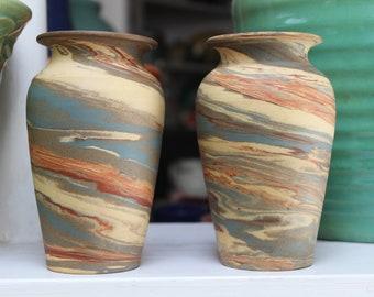 Pair Evans or Niloak Swirl Pottery Vases Arkansas VINTAGE by Plantdreaming
