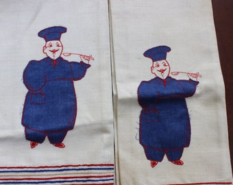 1 Tea Towel French Chef Appliquéd unused 2 available VINTAGE by Plantdreaming