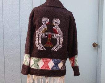 Coat Women's Wool Mexico Peru Fringed Bird Design Jacket Size Medium Large Colorful VINTAGE by Plantdreaming