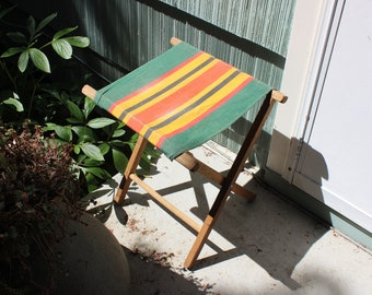 Folding Camp Stool with Striped Canvas Seat Beach Camping Suitcase Stand VINTAGE by Plantdreaming