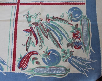 Tablecloth Vegetables Mid century Garden Vegi Kitchen kitsch as is VINTAGE by Plantdreaming