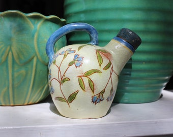 Brown County Pottery Handle Jug Bachelor Button Cornflower Design Studio Pottery VINTAGE by Plantdreaming
