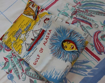 Tablecloth Alaska Map State Souvenir Novelty Mint condition VINTAGE By Plantdreaming
