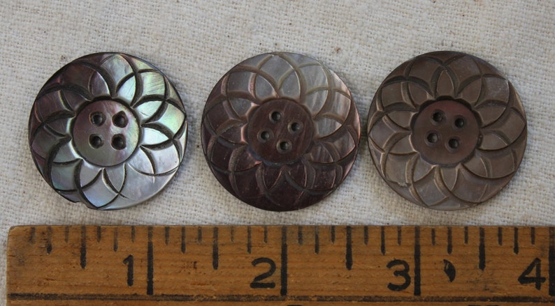 3 MOP Buttons Large 1 316 Carved Shell Mother of Pearl 4 Hole Sewing Buttons set VINTAGE by Plantdreaming