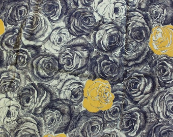 """Cotton Fabric Roses Black and Yellow Floral 40"""" width 4 yards and 32 inches long Yardage 1940  VINTAGE  by Plantdreaming"""