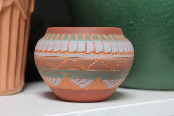 Navajo pottery designs Antique Image Etsy Navajo Etched Polychrome Pottery Signed Nelson Feather Design Etsy