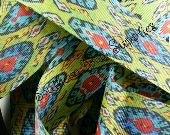 """NEW---1.5"""" Inch wide Double Sided Grosgrain Ribbon---5 Yards---Lime Red Turquoise Yellow----MOROCCAN MEDALLION"""