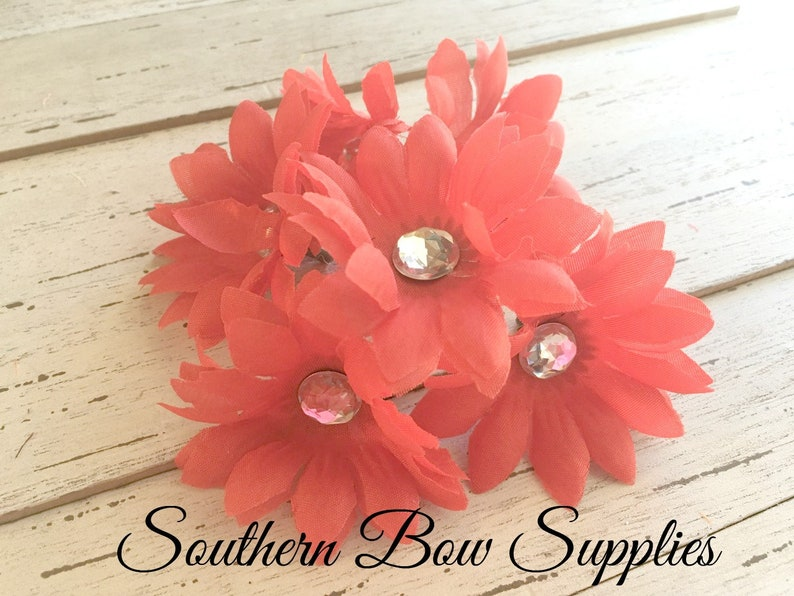 2 inch Gerber Daisy Jeweled Small Silk Flowers---RED---Set of 6