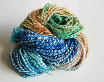 Art Yarn   Handspun Art Yarn   Bulky Yarn   Hand Spun Art Yarn   Textured Yarn   Weaving Yarn   Thick and Thin yarn   'A day at the beach'