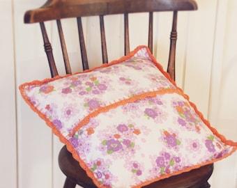 Pillow Case   Handmade Pillow Case   Vintage Pillow Case   Pillow Cover   Decorative Pillow   with orange crochet edging
