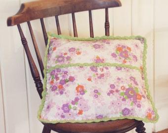 Pillow Case   Handmade Pillow Case   Vintage Pillow Case   Pillow Cover   Decorative Pillow   with green crochet edging