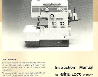Instruction manual 32 page Book  Elna LOCK overlock sewing machine type l-4