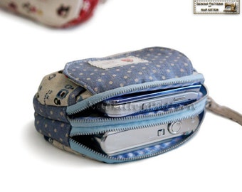 Clutch sewing pattern, purse sewing pattern, with Double zippers in PDF -- Cute hamburger