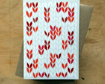 Red stocking stitch knit graphic - greeting card