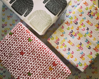 Wrapping paper for knitters, yarnies, stitchers, crocheters, spinners: A2 gift wrap
