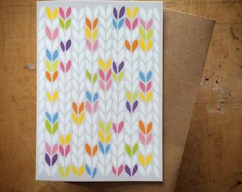 Bright stocking stitch knit graphic - greeting card